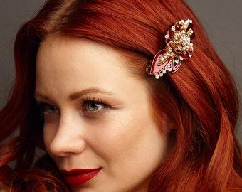 Flower Barrette Enamel Hair Clip Wedding Hair Accessory Large Hair Clip Crystal Hair Clip Rhinestone Barrette Purple Red Flower Hair Clip