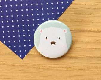 Polar Bear - 38mm - Pin Badge -  Polar Bear Badge - Button Badge - Button Pin - Animal Badge - Cute - Gift for Kids - Gift for Animal Lovers
