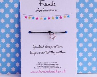 Friends Are Like Stars - You Don't Always See Them But You KNow They're There - Wishing / Friendship Bracelet - Star Charm - Handmade Gift