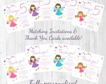 Fairy Princess - Tiara & Wand Themed Personalised Birthday Party Invitations/Invites/Thank You Cards Girl's Celebration Printed w' Envelopes