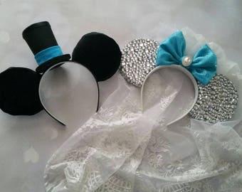 Made to order custom Bride and Groom Mickey ears headbands- set of 2