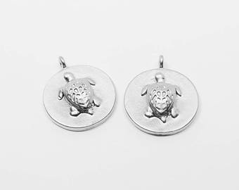 P0606/Anti-Tarnished Matte Rhodium Plating Over Brass/Embossed Carving Circle Turtle Pendant/12mm/2pcs
