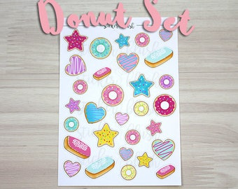 Donut Planner Stickers various shapes Matte or Glossy - for use with erin condren or happy planner - #23