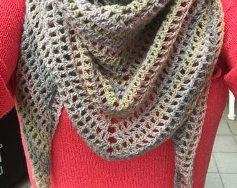Crochet shawl with tassels