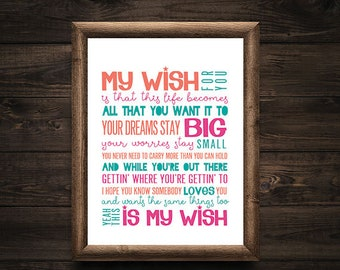 Rascal Flatts Inspired 'My Wish' Home Decor Print, Graduation Gift