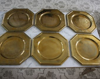 Set of 6 Vintage Octagonal Brass Chargers/Underplates