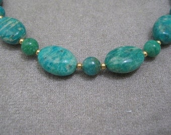 Russian Amazonite Oval & Round Necklace - n0187n51