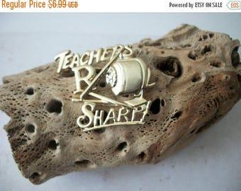 ON SALE Vintage AJC Stamped Teachers R Sharp GoldTone Metal Pin 33017