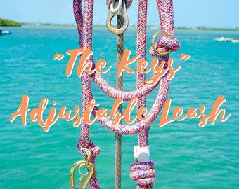 THE KEYS Adjustable Leash, Dog Leash, Rope Leash, Multi Colored Leash, Rope Lead, Hands Free Leash