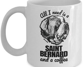 Saint Bernard Gift Mug - Funny St Bernard lovers Coffee Cup ! // By Mark Bernard - sketchnkustom!