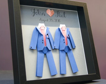 Personalized Gay Same Sex LGBT Wedding Gift, Engagement, First Anniversary Paper Gift Origami Groom & Groom Shadowbox Frame Custom Art