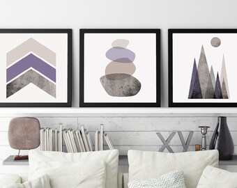 Set of 3 Prints, Set of 3 Scandinavian, Scandinavian Print, Print Set, Scandinavian Art, Minimalist, Poster, Mauve, Lilac, Mountains, Purple