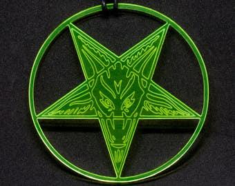 Baphomet pentagram acrylic pendant on adjustable cotton cord necklace