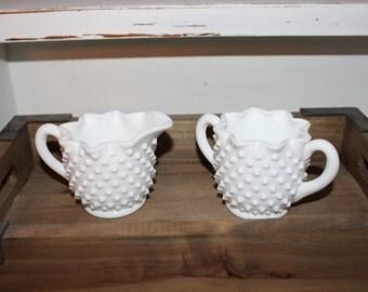 Vintage Fenton White Milkglass Hobnail Sugar Bowl and Creamer Set