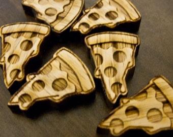 Pizza Pin - laser cut - pizza brooch - pizza button - lasercut wood