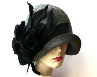 Gray Felted  Hat felt hat Cloche Hat 1920 Hat Art Gray Hat Cloche Victorian 1920's  Wool Women's hat black roses felt hats