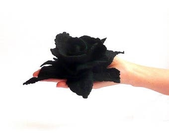 Black Felted Brooch, Felt Brooch, Felt Flower Brooch, Felted Flower Brooch, Felt Flower, Felt Jewelry,Felt Flowers,Gift For Her,Black Flower