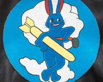 Hand painted WW2 USAAF Leather Patch - 324 Bomber Squadron