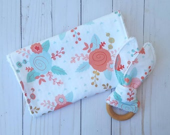 Coral and mint burp cloth and teething ring gift set- teal and pink, girl burpcloth, baby shower gift  baby girl, floral chic,  modern baby