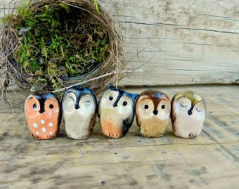 owl polymer clay baby owls cute collectible owls tiny owl figurines