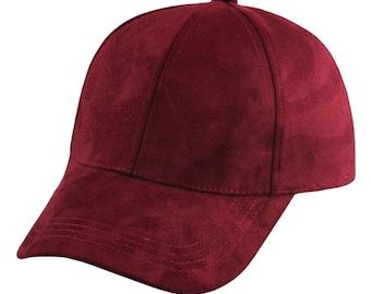 Burgundy Suede Cap Red Suede Baseball Cap Trucker Hat Accessory