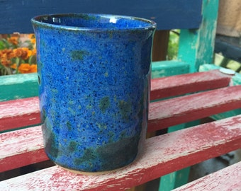 Ceramic tumbler, pottery cup, 8 oz, blue cup, green