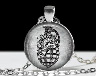 "Anatomical Heart Grenade Necklace - Macabre Gothic Style - Anatomical Heart  - Gothic Jewelry - Punk necklace -  1"" Silver & Glass Pendant"