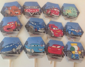 12 Disney Cars cupcake toppers