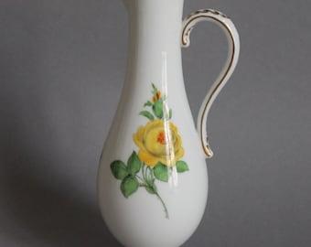 Meissen Crossed Swords german porcelain jug vase yellow rose gold rim