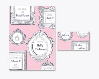 Portrait Wall Bridal Shower DIY Printable Invitation and Registry Card