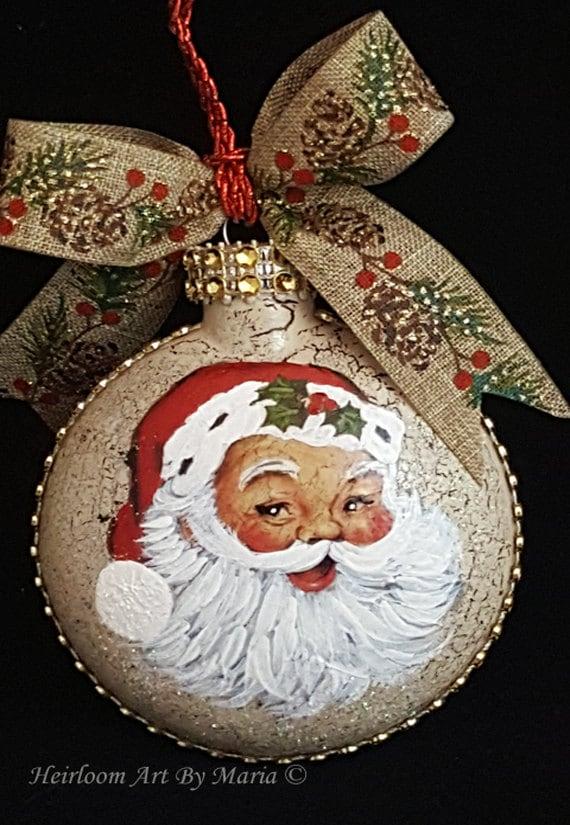 Hand Painted Santa Face OrnamentChristmas Santa ClausSanta