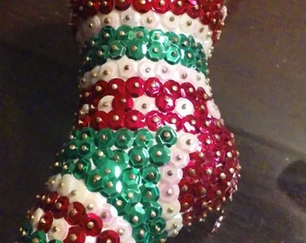 Sequin Christmas stocking ornament