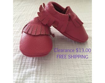 Dark Pink Leather Moccasins