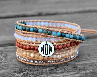 Personalized Bracelet Initial Bracelet Leather Bracelet Wrap Bracelet Beaded Bracelet Custom Bracelet MOM Gift Mother's Day