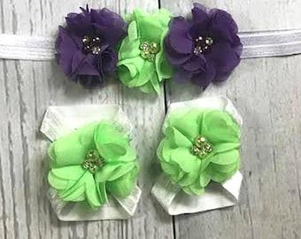 Baby Headband / Baby Girl Headband / Headband Set / Barefoot Sandals / Purple / Mint / Chiffon Flowers / Infant Headband / Baby Bows / Hair