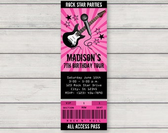 Rock Star Invitation   Printable Rockstar Birthday Party Invitation   Concert  Ticket Invitation   Instant Download  Concert Ticket Birthday Invitations