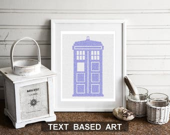 Tardis Doctor Who Wall Art, Whovian Print Dr Who Gift for Men, Text Art (AU)