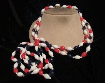 Vintage Long Signed Hong Kong Red White & Blue Beaded Double Stranded Necklace