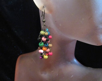 Vintage Pair Of Multi Colored Glass Beaded Pierced Dangle Earrings