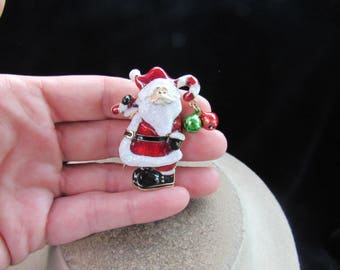 Vintage Christmas Enameled Santa Claus Pin With Dangling Bells