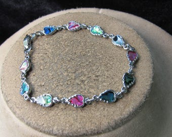 Vintage Silvertone Multi Colored Leaves Bracelet