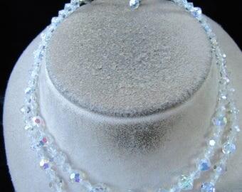 Vintage Double Stranded Aurora Borilais Glass Beaded Necklace