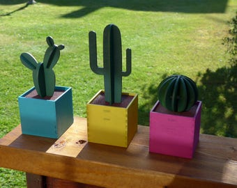 Wooden Laser Cut Decorative Cacti - Set of Three