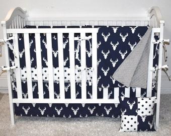 Indigo Antlers Crib Bedding, modern nursery, modern quilt, woodland, boy nursery, hunting, indigo, changing pad, bumpers