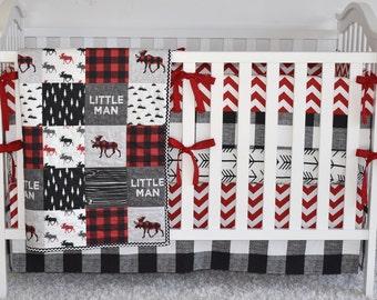 Buffalo Plaid Moose Bedding, crib bedding, toddler quilt, modern nursery, red and black, buffalo print, crib skirt, crib sheet, crib bumpers