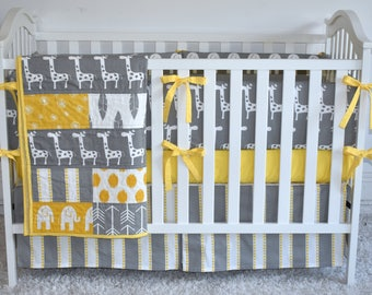 Giraffes on Grey  and Yellow, modern nursery, safari, elephants, giraffe, boy nursery, girl nursery, crib bedding, crib bedding set, bumpers
