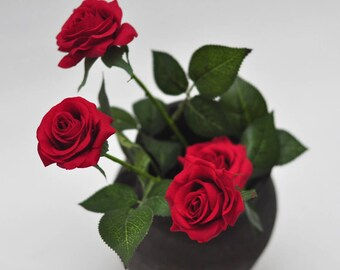 1 stems real touch flowers natural touch red rose home decoration wedding bouquet