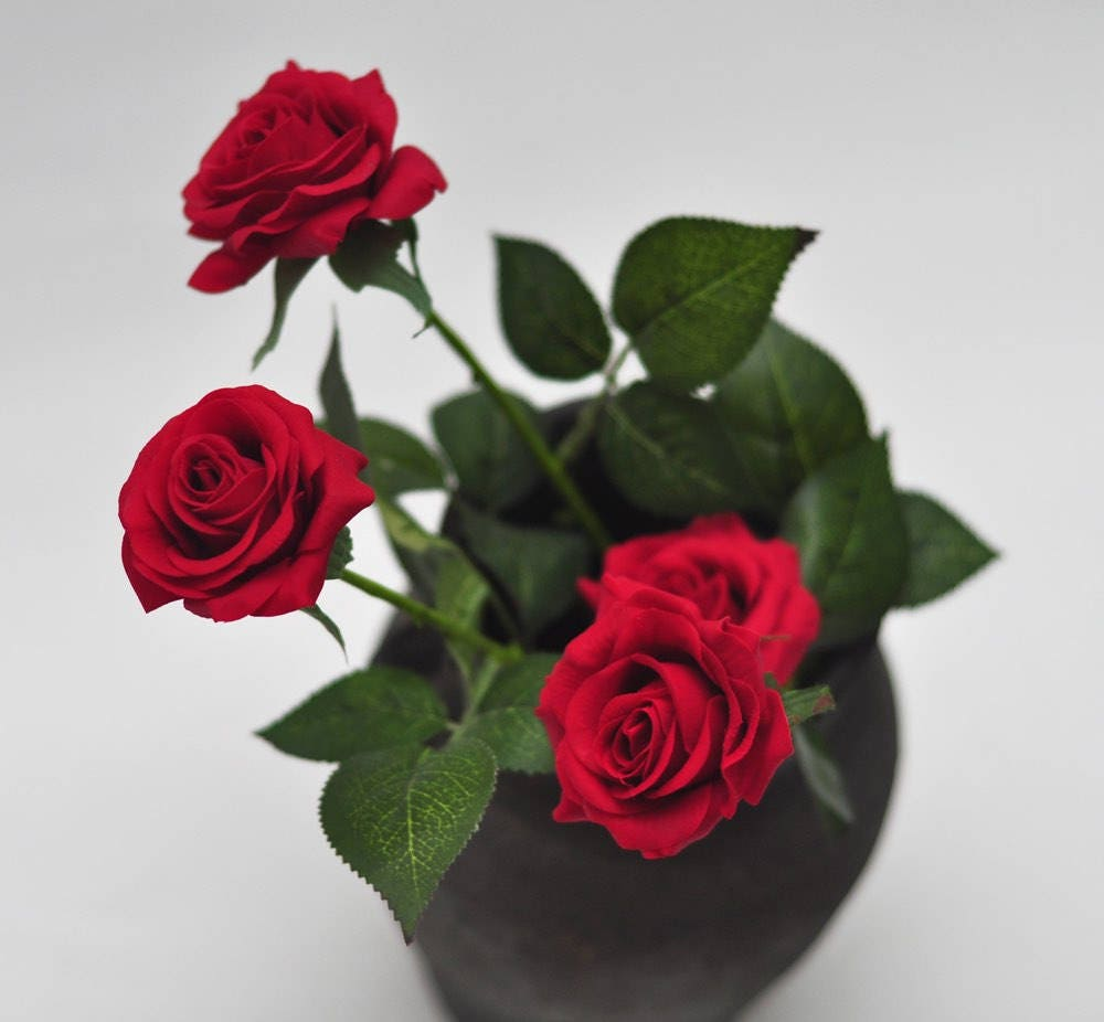 1 Stems Real Touch Flowers Natural Touch Red Rose Home