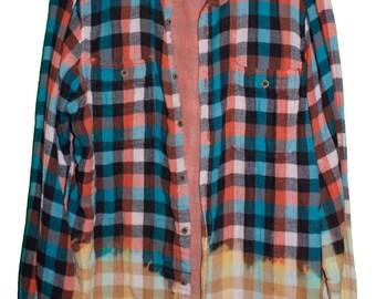 orange flannel shirt etsy