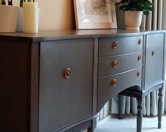 Grey Solid Wood Sideboard with Original Brass Handles and Distressed Edges